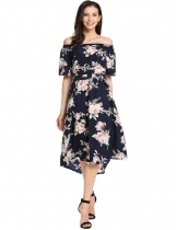 Blue Slash Neck Off Shoulder Short Sleeve Prints A-Line Casual Dress
