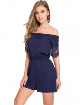 Blue Off the Shoulder Lace Hollow Out Sleeve Rompers