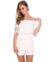 White Off the Shoulder Lace Hollow Out Sleeve Rompers