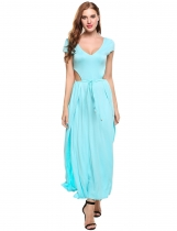 Skyblue Double V-Neck Adjustable Lace-up Waist Hollow Out Side Split Casual Dress