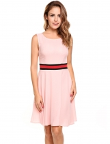 Pastel pink O-Neck Sleeveless Patchwork A-Line Pleated Hem Tunic Tank Chiffon Dress with Lining