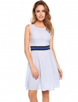 Skyblue O-Neck Sleeveless Patchwork A-Line Pleated Hem Tunic Tank Chiffon Dress with Lining