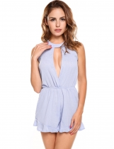 Skyblue Solid Hollow Out Ruffle Hem Sleeveless Chiffon Short Rompers