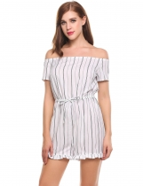 White Off the Shoulder Short Sleeve Striped Ruffle Brim Romper