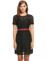Black Women O-Neck Short Sleeve Contraste Color Lace Patchwork Hollow Out Plissé Evening Casual Robes