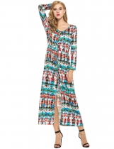 Colour Women Casual Long Sleeve Print V Neck Vintage Style Maxi Dress