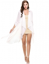 White Turn Down Collar Open Stitch Long Sleeve Solid Trench Coat