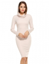 Women's Cowl Collar Long Sleeve Bodycon Solid Hooded Hoodie Dress