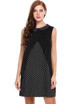 Black Sleeveless Dot Patchwork Turn Down Collar Loose Chiffon Dress