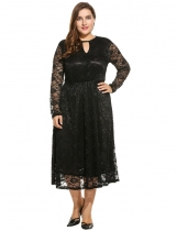 Women Casual Plus Size Long Sleeve Floral V Neck Lace A-Line Dress