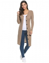 Apricot V-Neck Long Sleeve Button Down Long Ribbed Knit Cardigan
