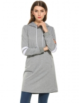 Grey Women Casual Contraste Color Pullover Long Hooded Hoodie Sweatshirt