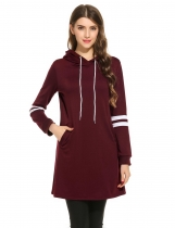 Wine red Contrast Color Pullover Long Hooded Hoodie Sweatshirt