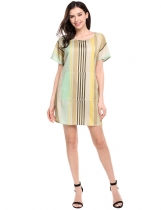 Women Fashion Loose Batwing Sleeve Stripe Mini-robe