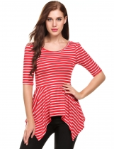 Red white Asymmetrical Hem Striped Short Sleeve Bow O Neck Loose Pullover T-Shirt