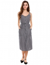 Wome Vintage Style Striped Sundress avec poches patch