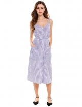 Dark blue Vintage Style Striped Patch Pockets Sundress