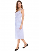 Vintage Style Striped Sundress mit Patch-Taschen
