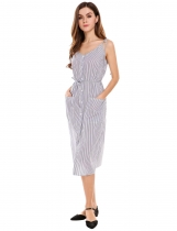 White Vintage Style Striped Patch Pockets Sundress