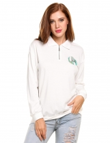 White Turn Down Collar Embroidered Quarter-Zip Sweatshirt