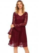 Wine red V-Neck Flare Sleeve Floral Lace Casual Dress
