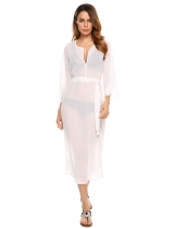 White Long Sleeve Solid Belted Overlay Chiffon Dress