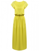 Yellow Floral Lace Short Sleeve Long Maxi Dress
