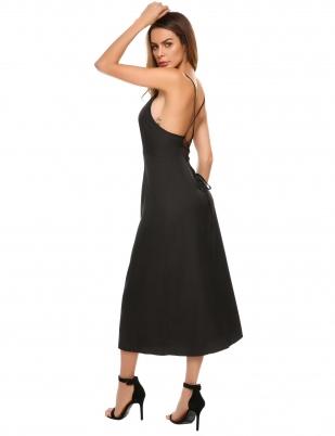 Black Backless Strap Solid Maxi Dress
