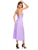 Purple Backless Spaghetti Strap Lace Up Solid Party Maxi Dress