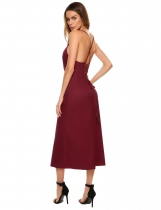 Vino rouge Bracelet spaghetti sexy pour femme Backless Lace Up Solid Party Maxi Dress