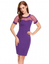 Purple Short Sleeves Organza Patchwork Bodycon Party Dress