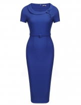 Blue Bow Peter Pan Collar Short Sleeves Bodycon Business Dress
