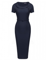 Navy blue Bow Peter Pan Collar manches courtes Bodycon Business Dress