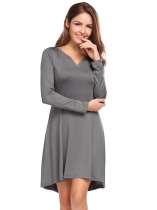 Grey Long Sleeve Solid V Neck A-Line Dress