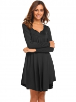 Black Women Casual Notched Long Sleeve Solid Pleated Tunic Loose Dress