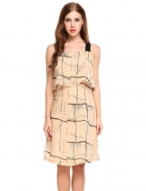 Khaki Sleeveless Wide Strap Ruffled A-Line Chiffon Casual Dress