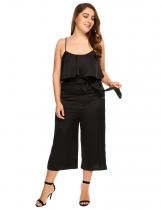 Black Plus Size Spaghetti Strap Wide Leg Pants Solid Loose Jumpsuit