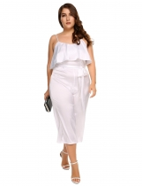 White Plus Size Spaghetti Strap Wide Leg Pants Solid Loose Jumpsuit