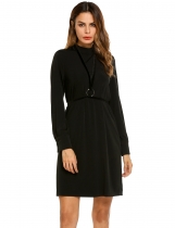 Black Stand Collar Solid Split Back Loose Belted Dress