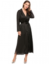 Black Solid Side Split Satin Lapel Collar Long Sleeve Jacket