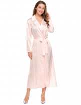 Pink Solid Side Split Satin Lapel Collar Long Sleeve Jacket