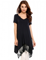 Navy blue Lace Trimmed Asymmetrical Hem Casual Tunics