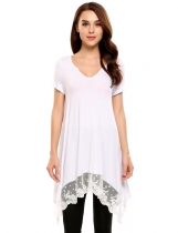 White Lace Trimmed Asymmetrical Hem Casual Tunics