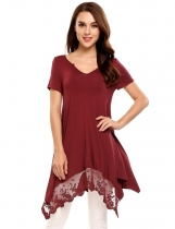 Wine red Lace Trimmed Asymmetrical Hem Casual Tunics