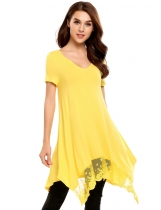 Yellow Lace Trimmed Asymmetrical Hem Casual Tunics