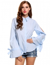 Skyblue Bow Bandage Slit Flare Sleeve Solid Button-down Shirts