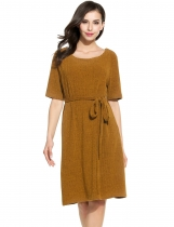 Dark brown Women Fashion Round Neck Half Sleeve Solid Ribbed Knit Belted Dress