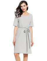 Gris mujeres de moda cuello redondo media manga sólido Ribbed Knit Belted Dress
