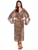Brown Deep V-Neck 3/4 Sleeve Wrap Front Leopard Chiffon Casual Dress
