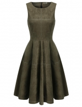 Green Vintage Style Sleeveles Faux Suede Flared Dress